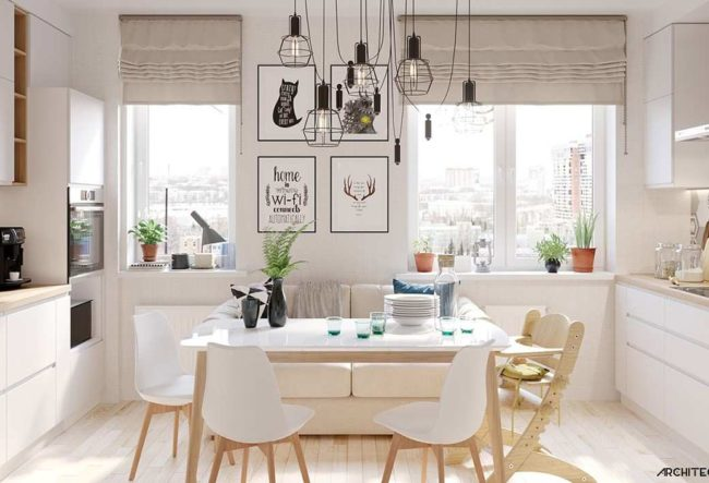 طراحی داخلی آپارتمان با استفاده از چوب و رنگ سفید