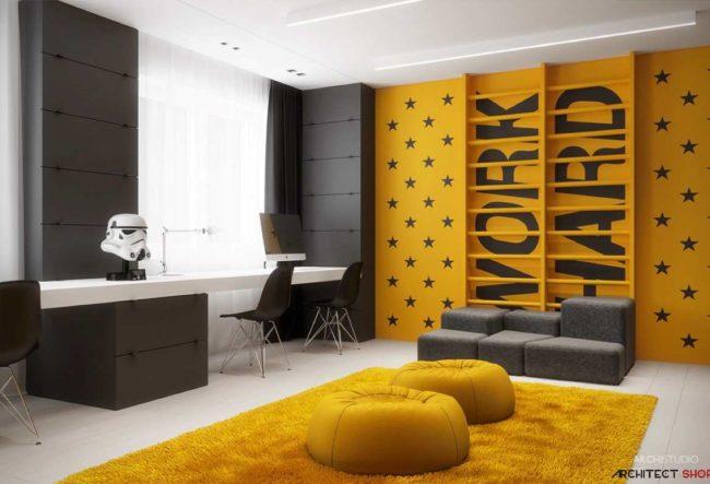 اتاق خواب کودکان با تم زرد: نحوه استفاده و ترکیب دکوراسیون روشن