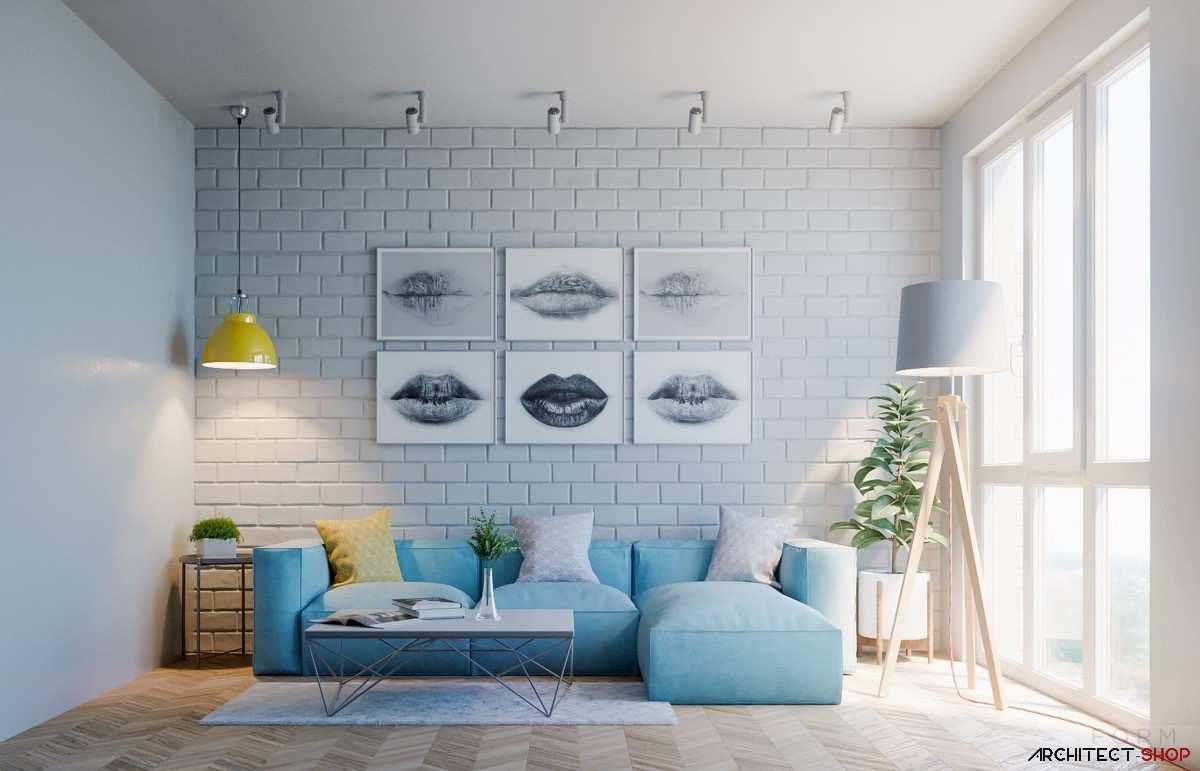 طراحی داخلی نشیمن با دکوراسیون آبی