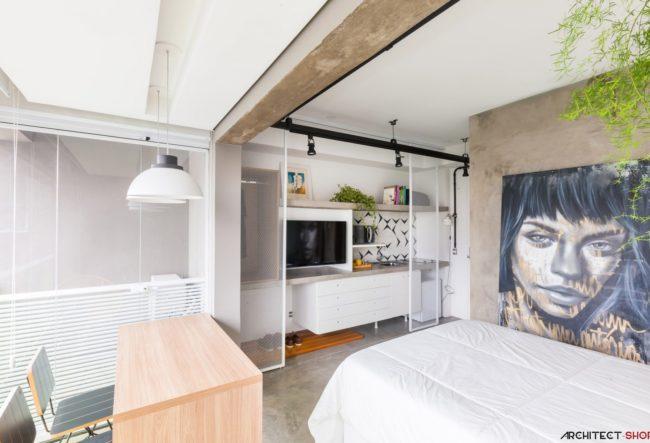 طراحی داخلی آپارتمان به مساحت 24 متر مربع در برزیل