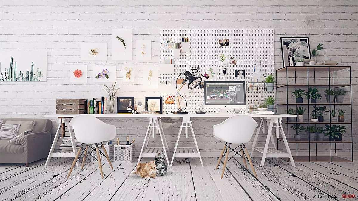 طراحی 50 نمونه دفتر کار مدرن خانگی با ایده های الهام بخش - Modern Home Office 40