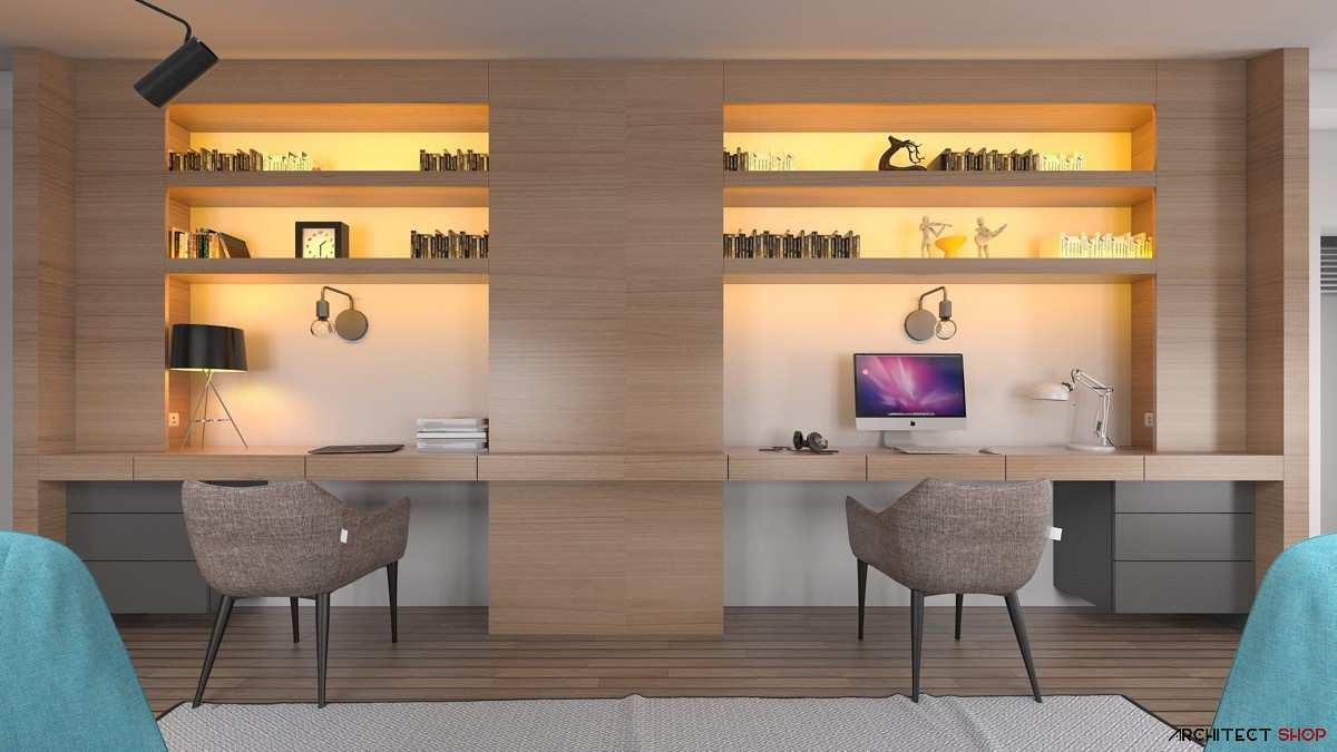 طراحی 50 نمونه دفتر کار مدرن خانگی با ایده های الهام بخش - Modern Home Office 48