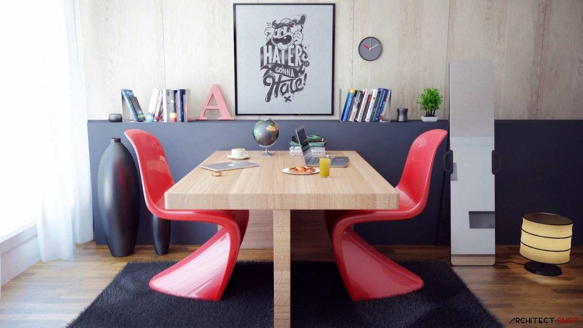 طراحی 50 نمونه دفتر کار مدرن خانگی با ایده های الهام بخش - Modern Home Office 49