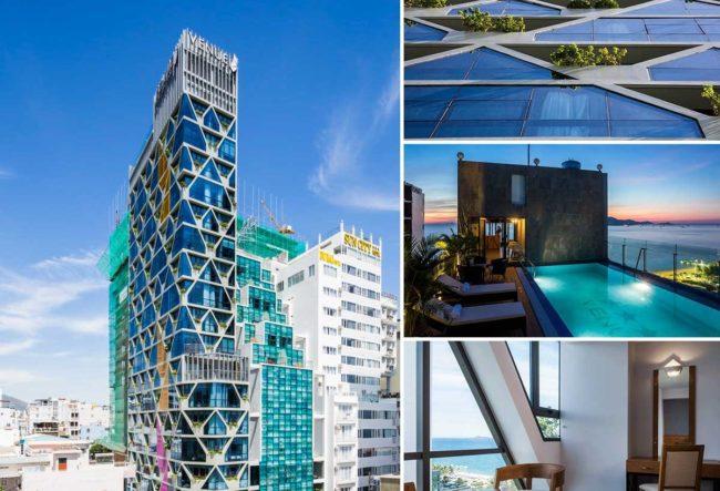 طراحی هتل با نمای شیشه ایی در ویتنام