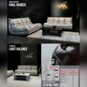 آموزش طراحی اتاق نشیمن با نور پردازی در شب و تم تیره - living night lighting dark 300x300