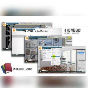 آموزش طراحی داخلی در 3dmax و Vray و فتوشاپ - living room design 300x300