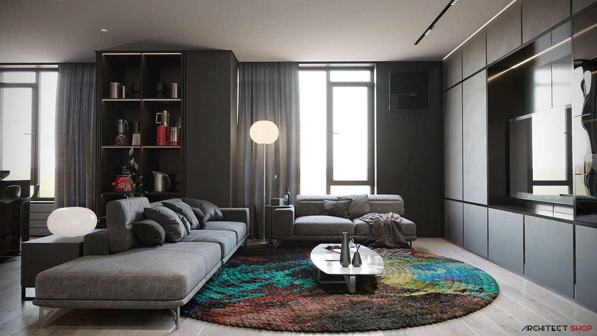 طراحی داخلی 3 نمونه آپارتمان با تم خاکستری - Grey Based Decor 22