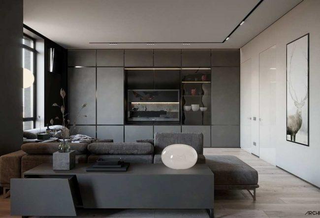 طراحی داخلی 3 نمونه آپارتمان با تم خاکستری