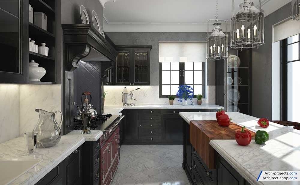 مدل سازی آشپزخانه کلاسیک