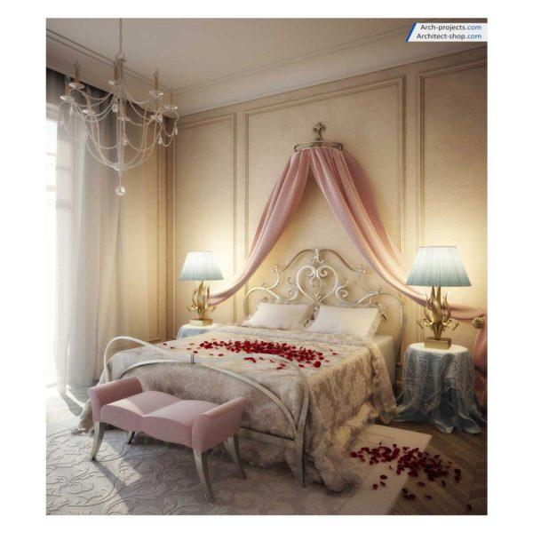 آموزش طراحی اتاق خواب کلاسیک در تری دی مکس - romantic bedroom 3dmax training 600x600