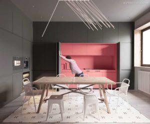 30 ایده طراحی آشپزخانه صورتی برای کمک به طراحی های شما - Dark coral kitchen 300x247