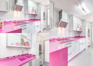 30 ایده طراحی آشپزخانه صورتی برای کمک به طراحی های شما - Hot pink kitchen countertop 300x212