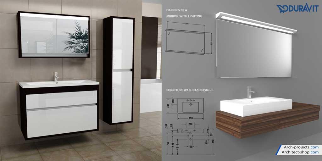 مدل سه بعدی مبلمان حمام