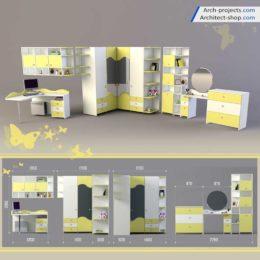 مدل سه بعدی مبلمان اتاق کودک