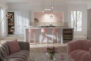 30 ایده طراحی آشپزخانه صورتی برای کمک به طراحی های شما - Pastel pink kitchen tiles 300x200