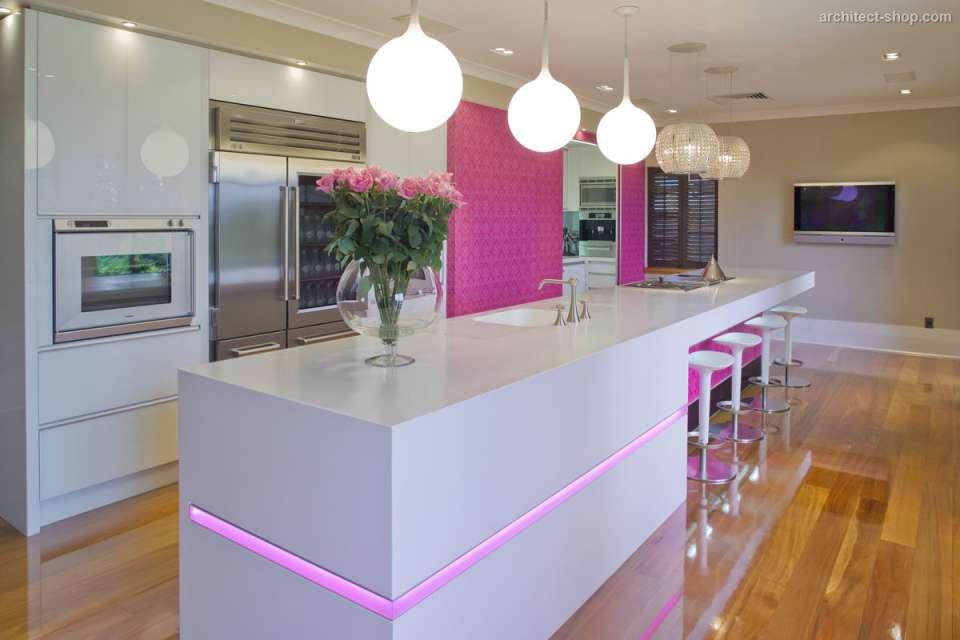 30 ایده طراحی آشپزخانه صورتی برای کمک به طراحی های شما - Pink kitchen lights