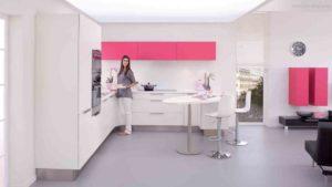 30 ایده طراحی آشپزخانه صورتی برای کمک به طراحی های شما - Pink white kitchen design ideas 300x169