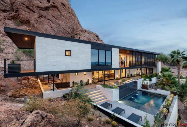 طراحی ویلای دوبلکس صخره ایی در آمریکا