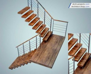 مدل سه بعدی پله