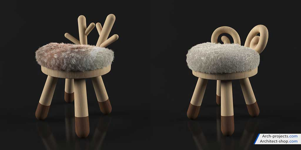 مدل سه بعدی میز و صندلی اتاق کودک
