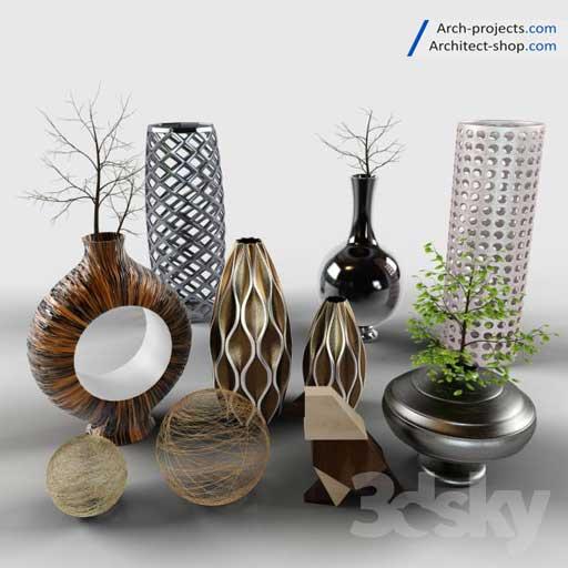 مجموعه حرفه ای مدل سه بعدی گلدان تزیینی