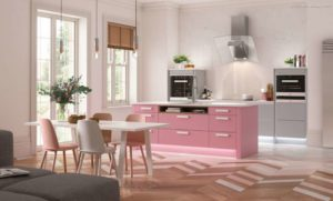 30 ایده طراحی آشپزخانه صورتی برای کمک به طراحی های شما - Watermelon pink grey kitchen 300x181