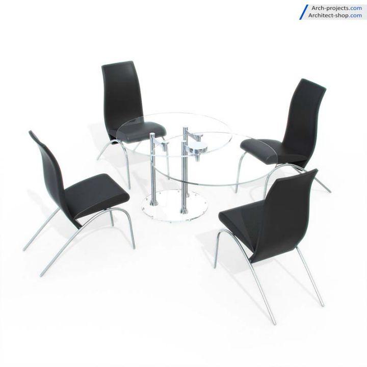 مدل سه بعدی میز نهارخوری مدرن