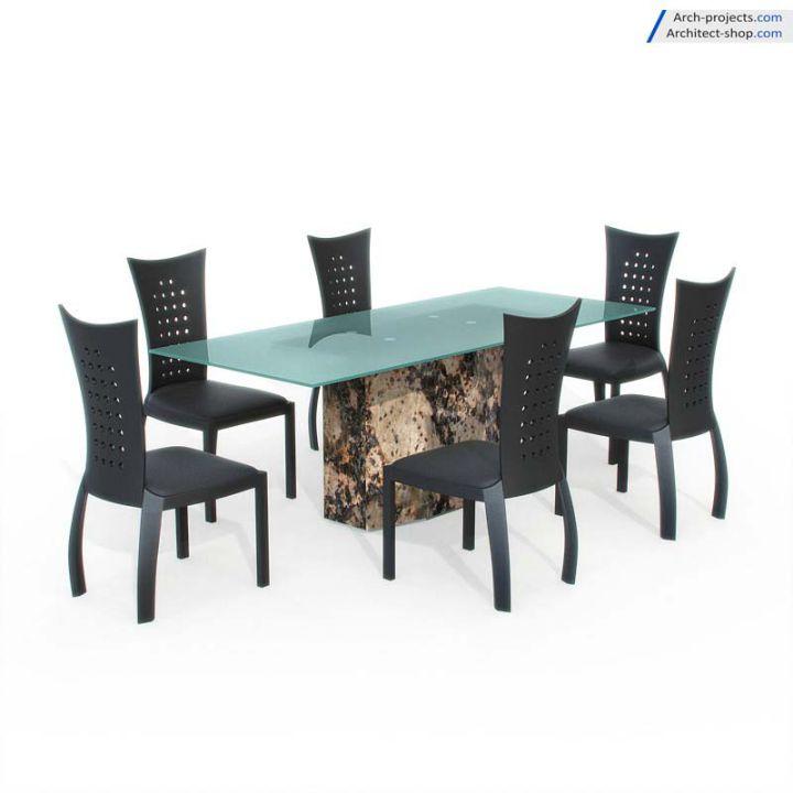 مدل سه بعدی میز نهار خوریمدرن