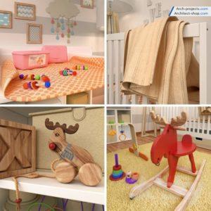 مدل سه بعدی لوازم اتاق کودک