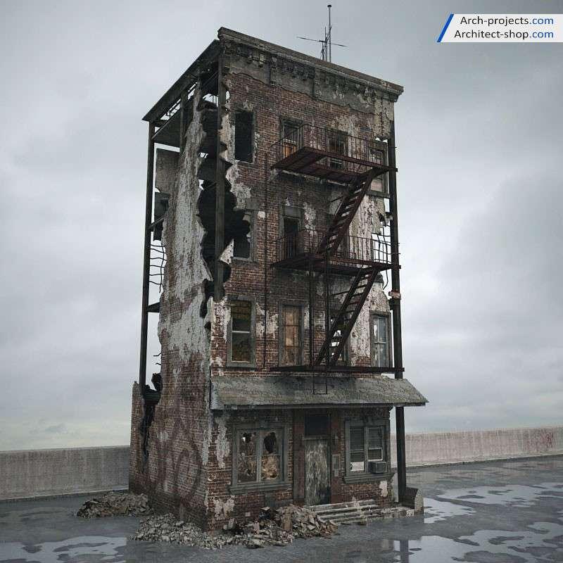 مدل سه بعدی ساختمان تخریب شده