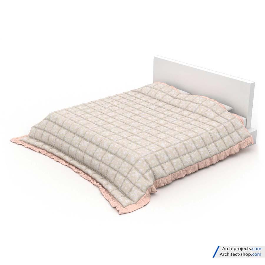 دانلود رایگان مدل سه بعدی تخت خواب و بالشت