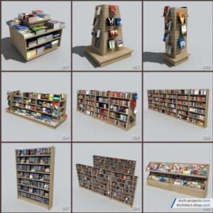مدل سه بعدی لوازم فروشگاه کتاب