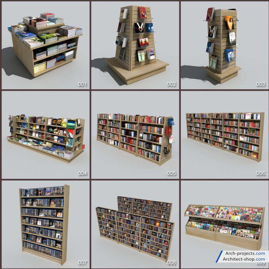 دانلود مدل سه بعدی لوازم فروشگاه کتاب