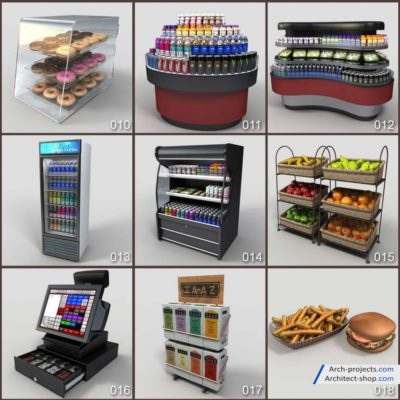 مدل سه بعدی لوازم فروشگاه مواد غذایی
