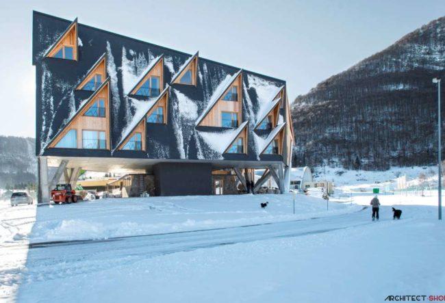 طراحی هتل کوهستانی در ایتالیا