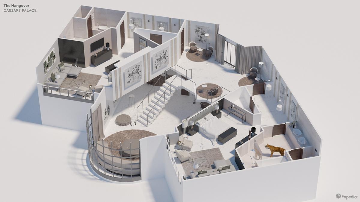 7 نمونه پلان سه بعدی هتل های معروف - Plans Famous Hotel 7 1
