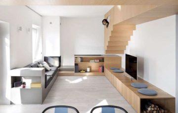 طراحی داخلی استودیو آپارتمان با مبلمان چوبی