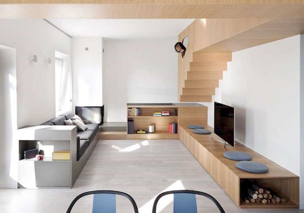 طراحی داخلی استودیو آپارتمان با مبلمان چوبی - Studio Gosplan 12