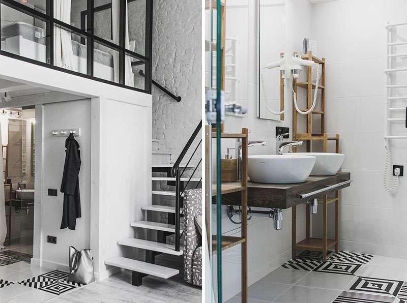 طراحی آپارتمان کوچک با دکوراسیون سیاه و سفید