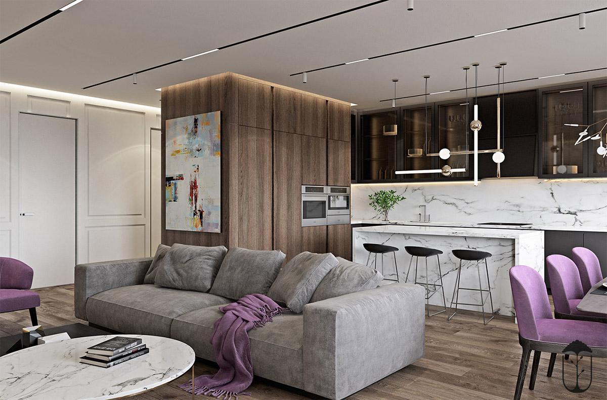طراحی داخلی خانه با سنگ مرمر و تم بنفش - Modern Home White Marble 3 1
