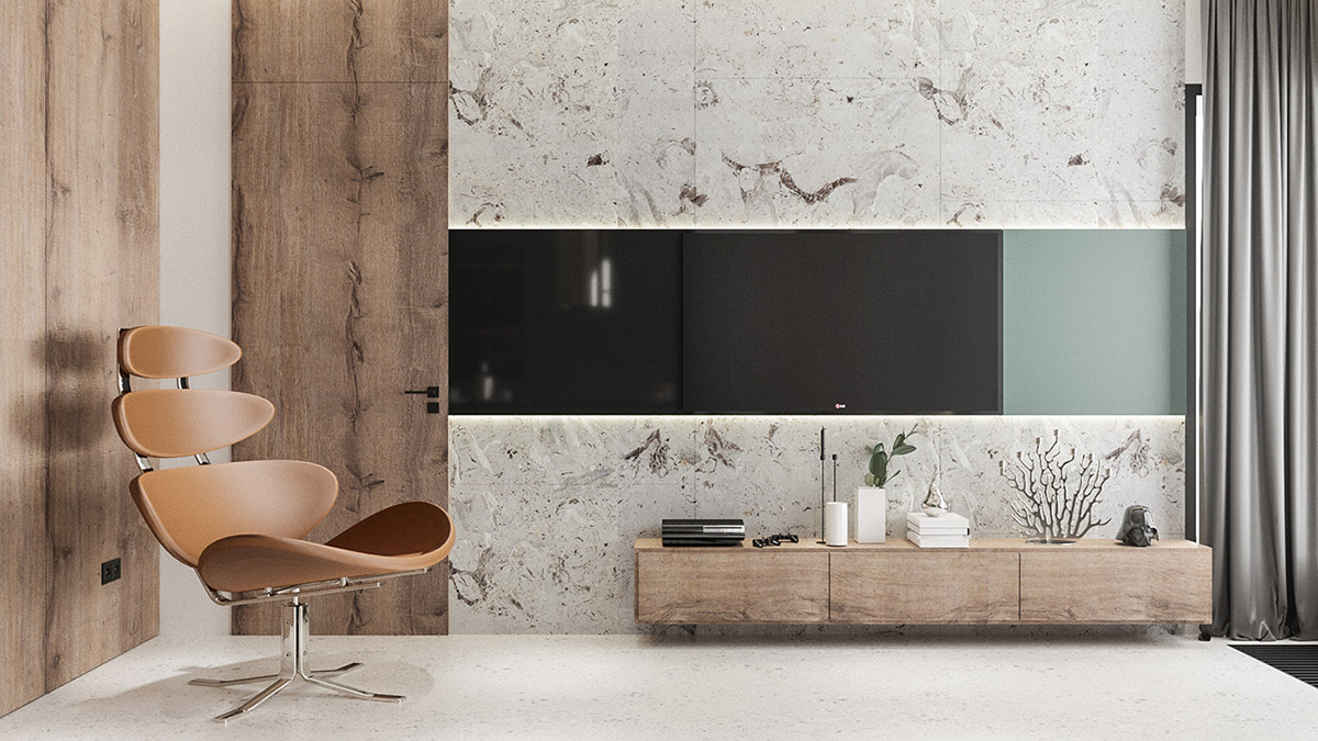 طراحی داخلی آپارتمان با سبک مدرن و مینیمال - Modern Minimalist Apartment 4 1