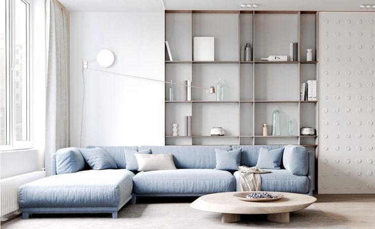 طراحی داخلی آپارتمان با رنگ پاستلی
