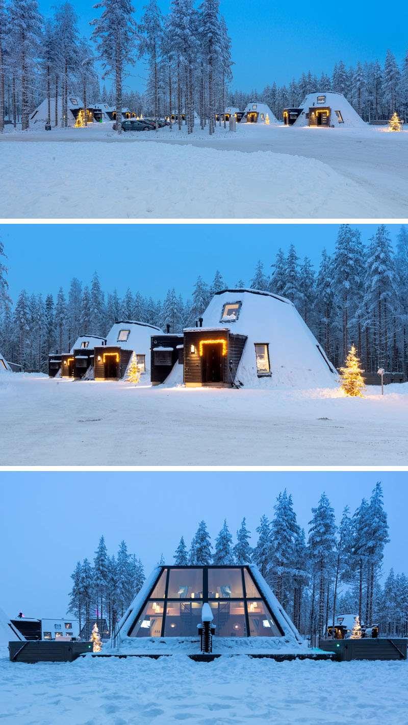 هتل زمستانی با سقف شیشه ایی