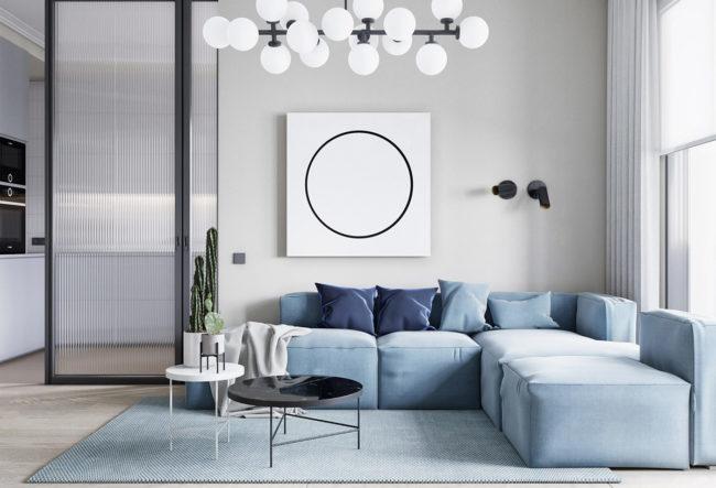 طراحی داخلی آپارتمان آبی با تم دایره ایی