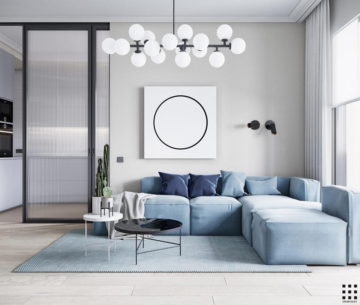 طراحی داخلی آپارتمان آبی با تم دایره ایی - Circle Themed Apartment 1 1