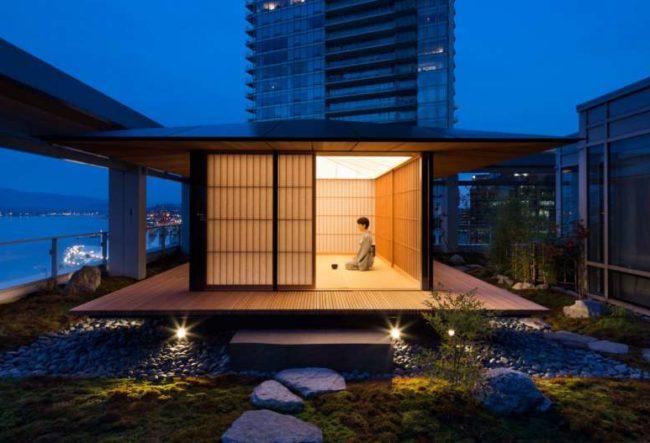 طراحی اتاق چایی در تراس برج توسطکنگو کوما