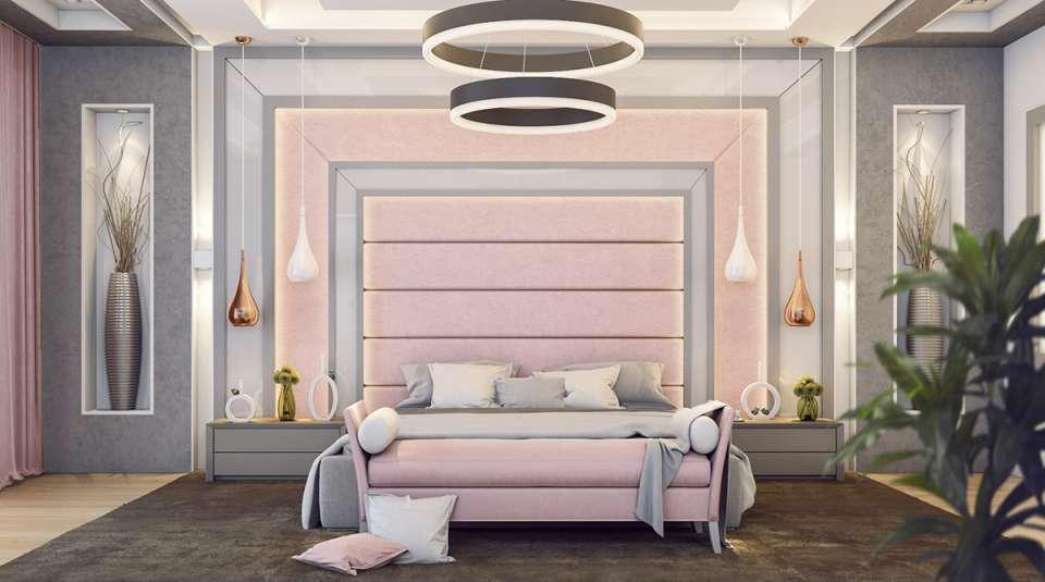 طراحی اتاق خواب با تم صورتی