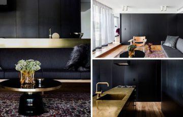 طراحی داخلی آپارتمان با پالت مشکی و طلایی