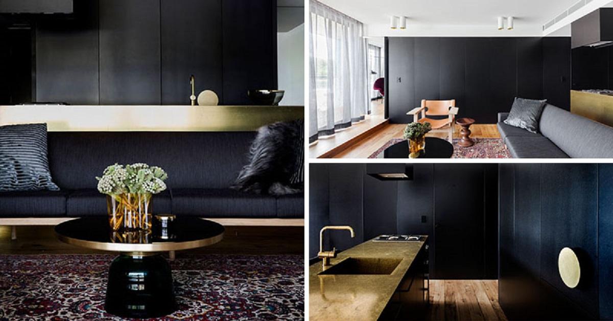 طراحی داخلی آپارتمان با پالت مشکی و طلایی - apartment palette black gold 13