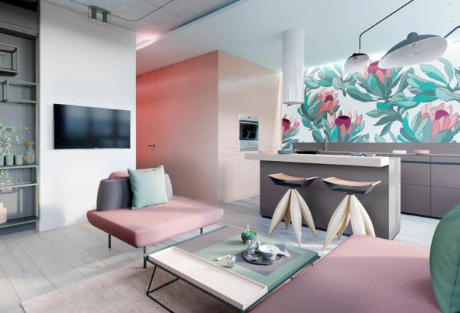 طراحی داخلی آپارتمان با تم صورتی و سبز